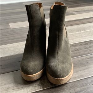 Anthropologie genuine leather green suede boots
